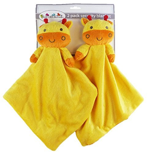 2-pack Plush Animal Security Blankets (Yellow/Orange Giraffes)