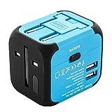 Uvistar-Reiseadapter-2er-Set-3-Polig-4-in-1-fr-150-lnder-Reisestecker-Weltweit-Universal-fr-Australien-Brasilien-China-England-Dnemark-USA-Europa-Asien-Sdafrika-Leicht-Wrfel-Wandler-mit-USB