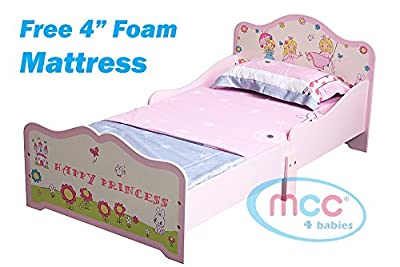 "MCC Happy Princess Junior, Toddler, Kids Bed with 4"" Luxury Foam Mattress Made in England"