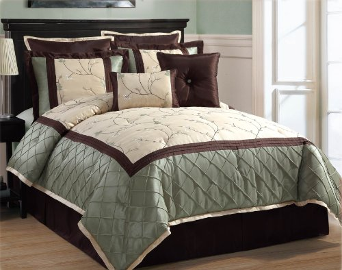 Victoria Classics Alexandria 8-Piece Queen Comforter Set, Sage
