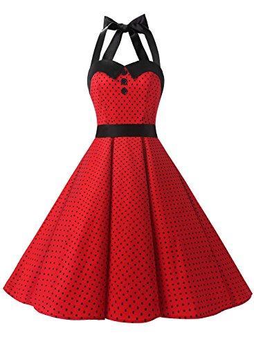 Dressystar Vintage Polka Dot Retro Cocktail Prom Dresses 50's 60's Rockabilly Bandage Red B L