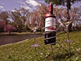 Sorbus® Wine Stakes Set, Wine Sticks Holds Bottle and 2 Glasses Preventing Them from Spilling or Breaking, Great for Outdoor Drinking By Picnic Camping or Party