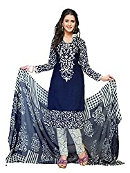 PShopee Navy Blue Synthetic Printed Unstitched Salwar Suit Dress Material