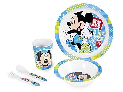Lulabi Disney Mickey Confezione Pappa Bimbo in Melammina, 5 Pezzi, Azzurro