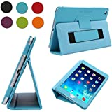 TKOOFN Premium Leather Smart Cover Nubuck Fibre Interior, Folio Case & Stand with Elastic Hand Strap for Apple iPad Mini 2 / Mini 3 [with Retina Display] + Screen Protector + Cleaning Cloth + Stylus, Blue - BHK6502