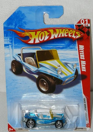 Mattel Hot Wheels 2010 Race World Beach Meyers Manx Mighty Blue Color Dune Buggy Die Cast Car Toy