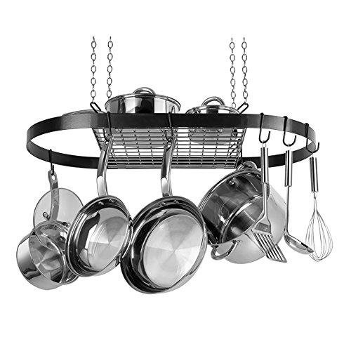 Rangekleen Home Kitchen Gadgets Cooking Utensils Pot Rack Oval Black Enamel