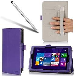 i-BLASON Asus VivoTab Note 8 Case - Leather Book Cover for M80T (Elastic Hand Strap, Multi-Angle, Card Holder) With Bonus Stylus (Purple)