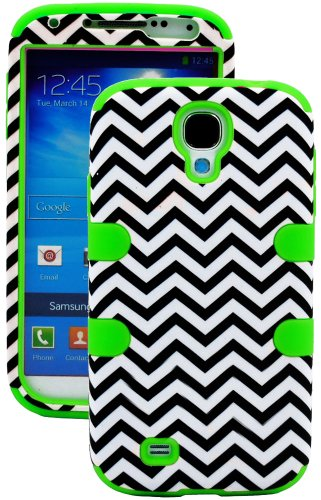 """Mylife (Tm) Bright Green - Chevron Design (3 Piece Hybrid) Hard And Soft Case For The Samsung Galaxy S4 """"Fits Models: I9500, I9505, Sph-L720, Galaxy S Iv, Sgh-I337, Sch-I545, Sgh-M919, Sch-R970 And Galaxy S4 Lte-A Touch Phone"""" (Fitted Front And Back Solid"""