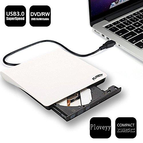 Ploveyy External DVD Writer, Portable Ultra External USB 3.0 CD-RW/ DVD-RW Burner Writer External DVD Drive for Laptops Notebook Desktop PC (White)