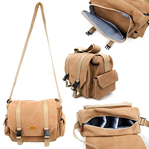 Tan-Brown Large Sized Canvas Carry Bag for the Zeiss VR One Headset - By DURAGADGET