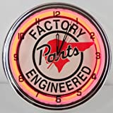 """Pontiac Factory Engineered Parts 15"""" Neon Lighted Clock Sign Red"""