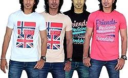 MaximBlue Men's White Light Brown Black Red T-Shirt