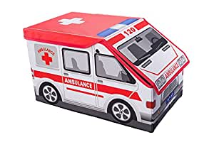 Clever Creations Ambulance Collapsible Toy Storage Box And Closet Organizer For Kids