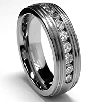 Grooved Men's Titanium Ring Wedding Band with 9 Cubic Zirconia sizes 8 to 12