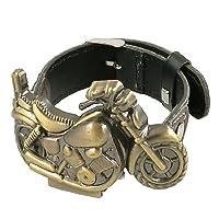 Man Arabic Numerals Display Pin Buckle Belt Bronze Tone Motor Case Watch