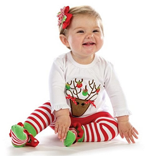Oryer Christmas Baby-Girls Newborn Reindeer Tunic and Legging Set