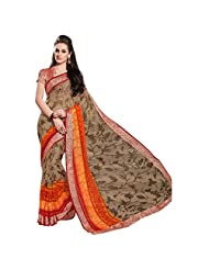 Graceful Brown Colored Floral Printed Viscose Jacquard Saree By Triveni