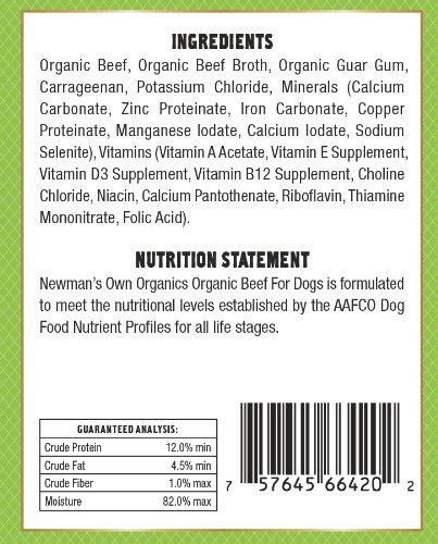 Newman's Own Organics Beef Grain-Free for Dogs, 12-Ounce Cans (Pack of 12)_Image1