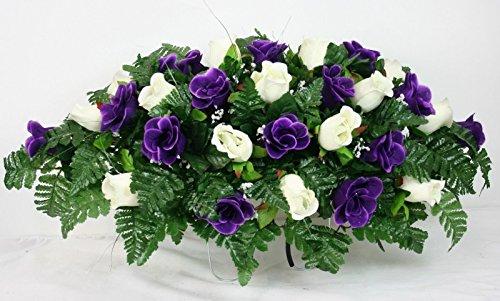 Beautiful Dark Purple and White Roses Silk Flower Cemetery Tombstone Saddle