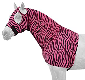 Tough 1 Spandex Mane Stay Hood with Full Zipper in Fun Prints, Pink Zebra, Medium