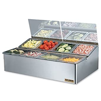 "San Jamar FP9248FL EZ-Chill Stainless Steel Food Prep Center, 25-1/4"" Width x 8"" Height x 16-1/2"" Depth"