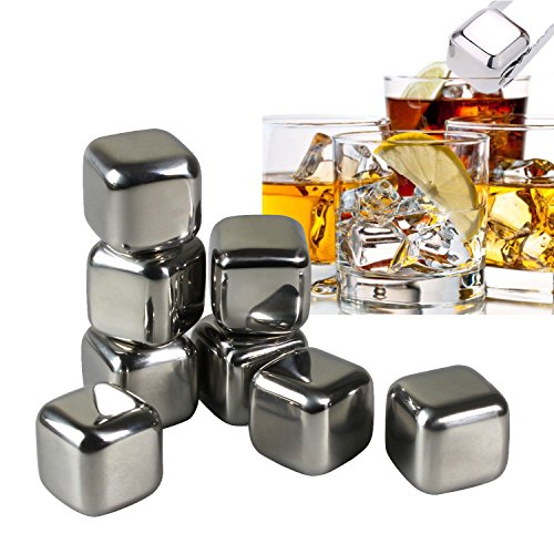 Shintop Whiskey Stones - Stainless Steel Reusable Wine Ice Cubes with Tongs for Wine Soda Set of 8 with Plastic Storage Box