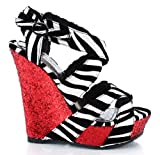 Society86 Pompey-02 Zebra Glitter Criss Cross Wedge