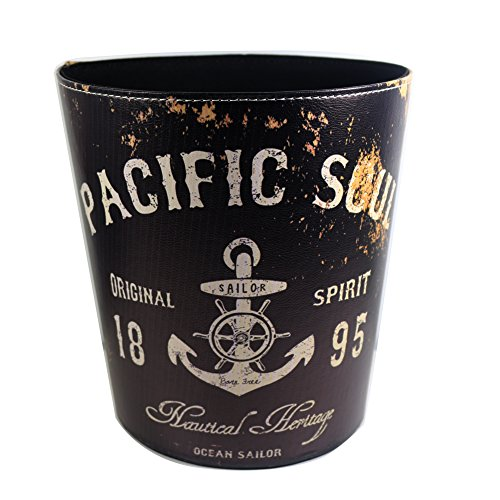 Vintage Decorative Trash Can Garbage Wastebasket Bin Pacific Soul Anchor Design Trashcan, Black Color (Vintage Garbage Can compare prices)