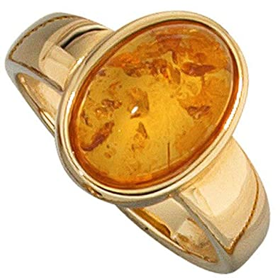Ring ladies 'ring with amber and 585 Yellow Gold Luxurious Finger Jewellery