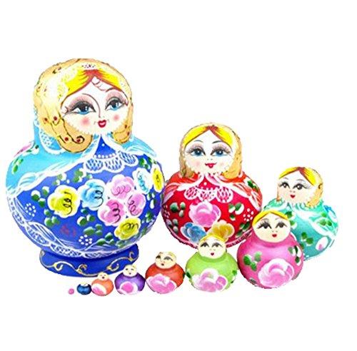 Leegoal-New-10pcs-Beautiful-Wooden-Russian-Nesting-Wishing-Dolls-Matryoshk-Traditional