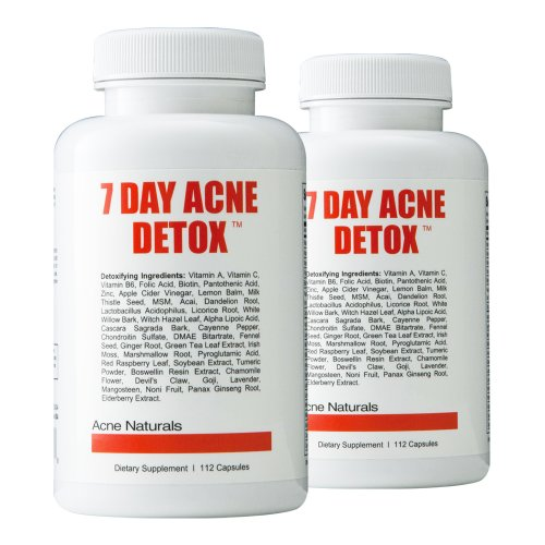 7 Day Acne Detox 2 Pack - Get Rid Of Acne Fast - All Natural Supplement To Get Rid Of Harmful Toxins That Cause Acne - Eliminate Zits, Pimples And Blackheads By Cleansing And Detoxifying