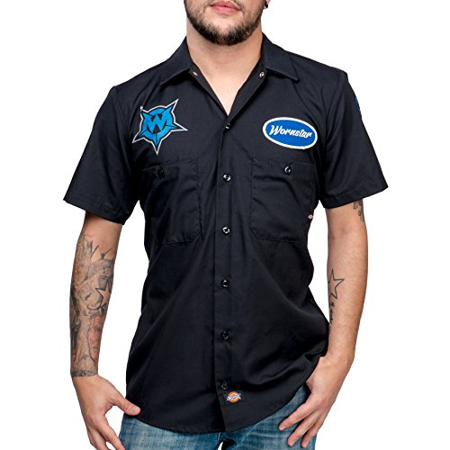 Wornstar Men's Fuel Short Sleeve Work Shirt Large Black (Gas Station Shirt compare prices)