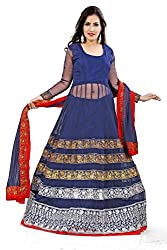 Priyanshu Creation Women's Net Blue Dress Material