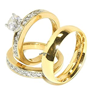 His & Hers 3 PCS Round Cut CZ Gold IP Stainless Steel Wedding Set /Mens Gold Band