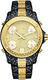 JBW JB-6213-D Men's Five Time Zone Diamond Watch, Black Band