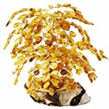 X-Large Amber Tree (288 amber leaves) mounted on stone is hand-made by Lithuanian Artists.