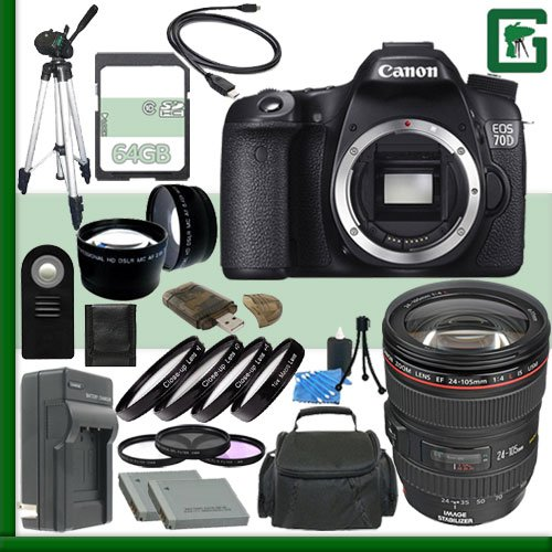 Canon EOS 70D Digital SLR Camera and Canon 24-105mm Lens + 64GB Green's Camera Package 2 canon eos 70d digital slr camera and canon 24 105mm lens 64gb green s camera package 2