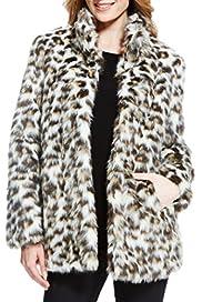 Faux Fur Animal Print Coat [T49-7922-S]