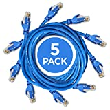 Ethernet Cable - 10FT Heavy Duty Cat6 E Cord (5-pack / Blue) With Professional Grade Copper + RJ45 Gold Plating...