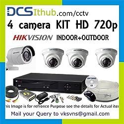 Hikvision IP 1.3MP & DVR NVR CCTV & 4 CCTV Camera Kit