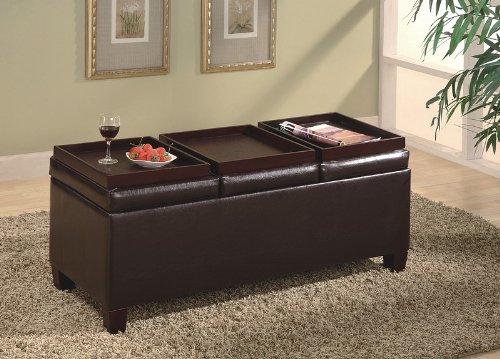 Bench Style Storage Ottoman with 3 Trays in Dark Brown Finish Features - Bench Style Storage Ottoman With 3 Trays In Dark Brown Finish