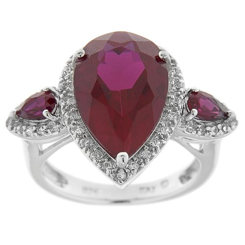 Sterling Silver Lab Created Ruby and Lab White Sapphire Ring, Size 6