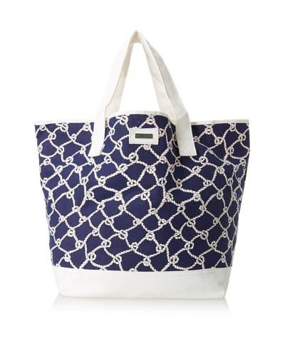 Julie Brown Women's Jenna Tote & Cosmetic Bag Bundle, Navy Turtle Bay