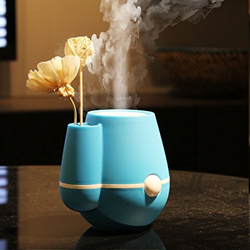 Allnice® Vase 160ml Home Office USB Air Humidifier Purifier Mist Maker Perfume Aroma Diffuser Atomizer for Home Room Health Care (Blue)