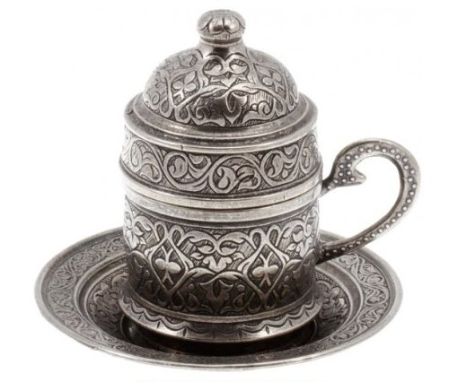 Copper Turkish Coffee Espresso Ottoman Cup & Saucer Set (Antique Silver) (Turkish Coffee Cups compare prices)