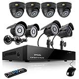 Sistema de cámaras de vigilancia ZMODO CCTV con 8 canales y  4 cámaras tipo domo y 4 tipo bala  para interiores y exteriores de 600TVL de alta resolución Disco Duro 1TB HDD