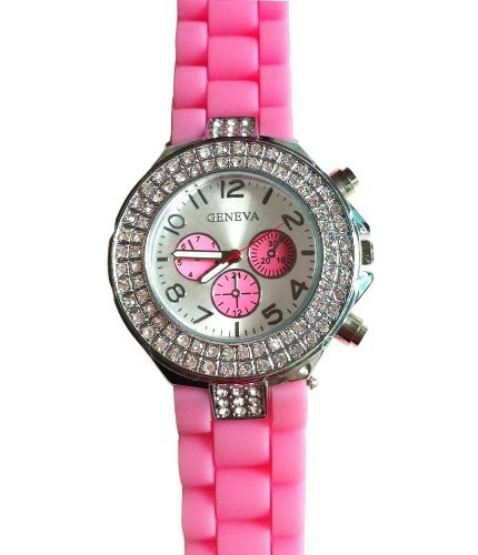 Pink Geneva Women's Silicone Band Large Face Designer Inspired Faux Chronograph Boyfriend Watch with Baguette Stones Bling Bezel-Pink