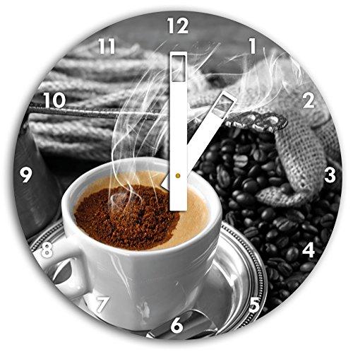 Étuvage café avec pichet noir / blanc, diamètre 30cm horloge murale avec du blanc au carré les mains et le visage, objets décoratifs, Designuhr, aluminium composite très agréable pour salon, bureau
