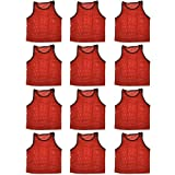 BlueDot Trading High quality 12 Red adult sports pinnies-12 High quality scrimmage training vests